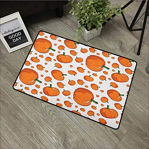 Interior mat W35 x L47 INCH Harvest,Halloween Inspired Pattern Vivid Cartoon Style Plump Pumpkins Vegetable, Orange Green White with Non-Slip Backing Door Mat Carpet -
