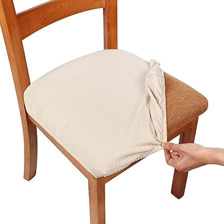 Smiry, copriseduta elastici per sedia per sala da pranzo e ufficio in tessuto jacquard, cuscini protettivi per sedia da pranzo, Beige, Set of 1 ( 1PC