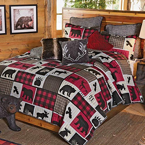 - BLACK FOREST DECOR Wildlife Icons Lodge Plaid Quilt Set - Twin