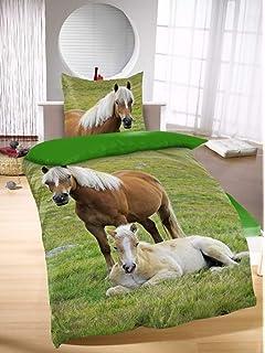 72db798cab1f86 Bettwäsche mit Pferd weiß Butterfly 135 x 200 cm 80 x 80 cm: Amazon ...