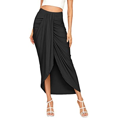 SheIn Women's Casual Slit Wrap Asymmetrical Elastic High Waist Maxi Draped Skirt at Women's Clothing store