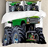 Biggest King Size Comforter Cars Bedding Set,Giant Monster Pickup Truck with Large Tires and Suspension Extreme Biggest Wheel Print,4 Piece Duvet Cover Set Bedspread for Childrens/Kids/Teens/Adults,Green Grey King Size