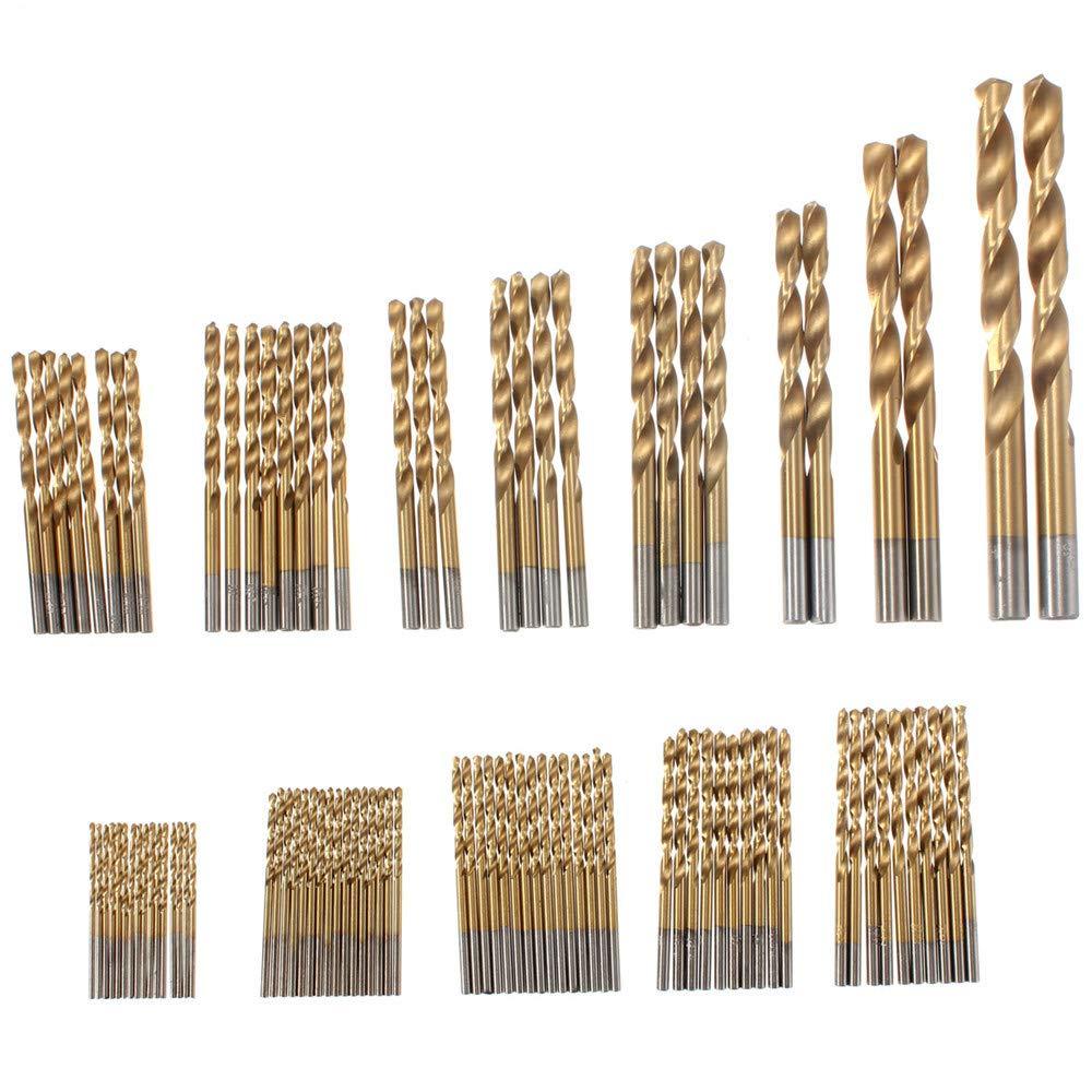 100 Brocas de Acero de Alta Velocidad de 1,5 mm a 10 mm con Revestimiento de Titanio DAxixi Kit de Herramientas de Bricolaje para taladros HSS caseros