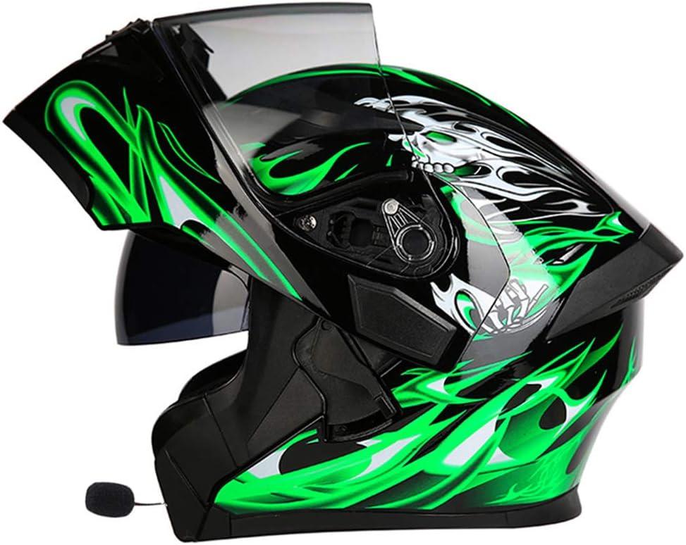 Cuffia con Microfono per Altoparlante Incorporato induzione Automatica,F,M Casco da Motocross per Adulti antiappannante modulare Flip Double Parasole SLSMD Casco Integrale Moto Bluetooth