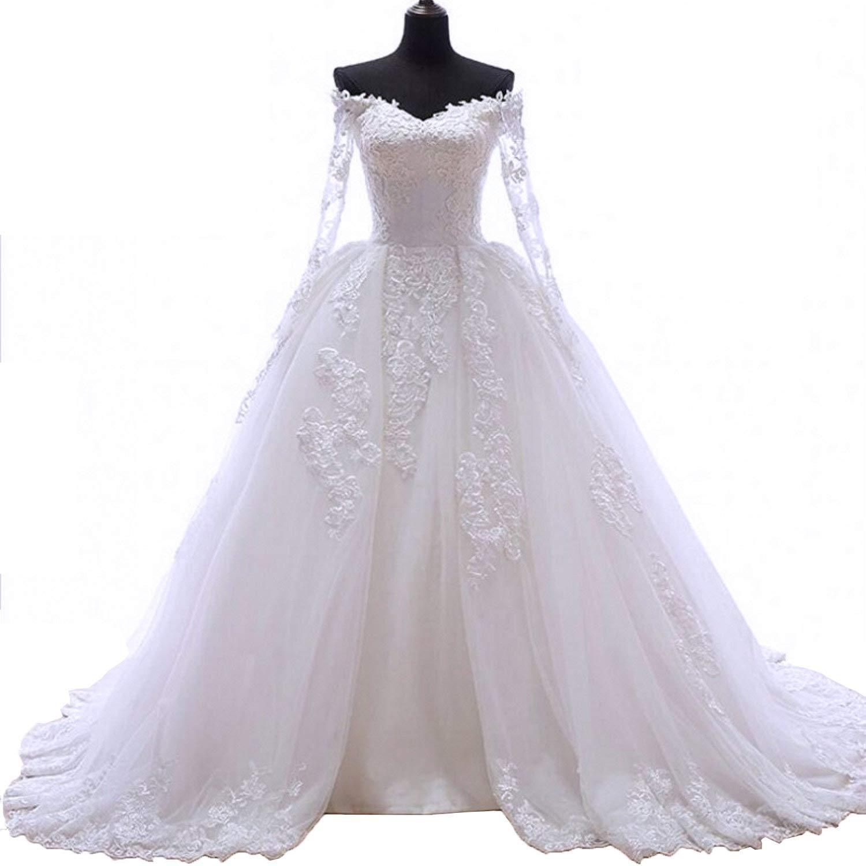 Anti Women S Wedding Dress Heart Shape Back Lace Long Sleeve White