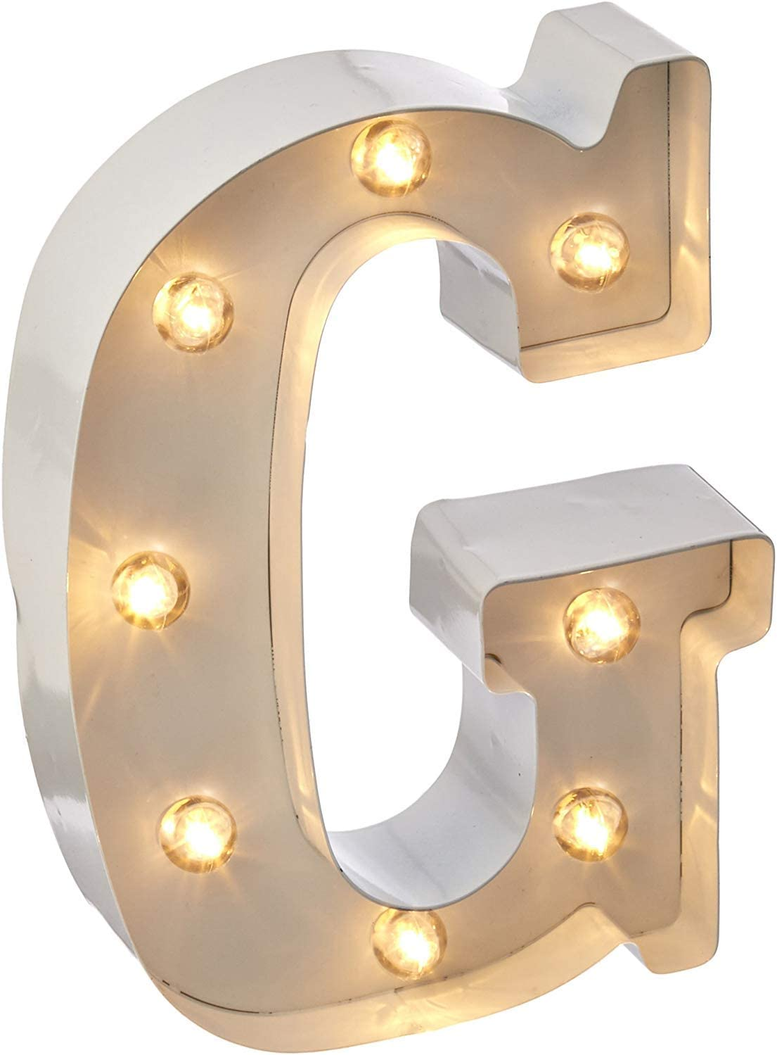 """M 9.87/"""" Tall Darice White Metal Marquee Letter White Finish"""