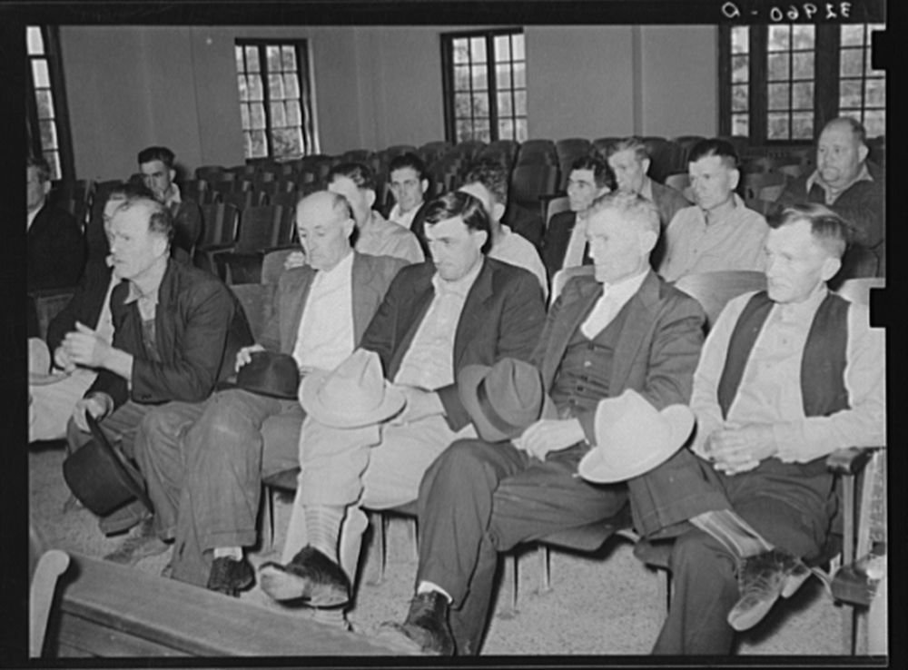 Meeting of county school commissioners. San Augustine, Texas