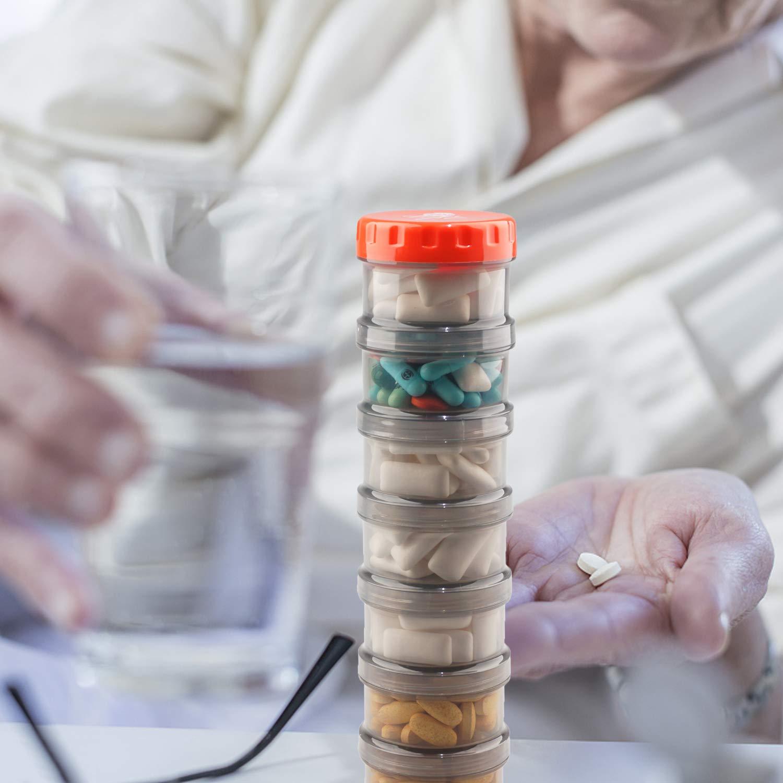settimanale portatile Pill Box Case per tasche per contenere vitamine Olio di pesce Supplementi Farmaco bianco Pill Box Organizer con 7 giorni di promemoria per la notte