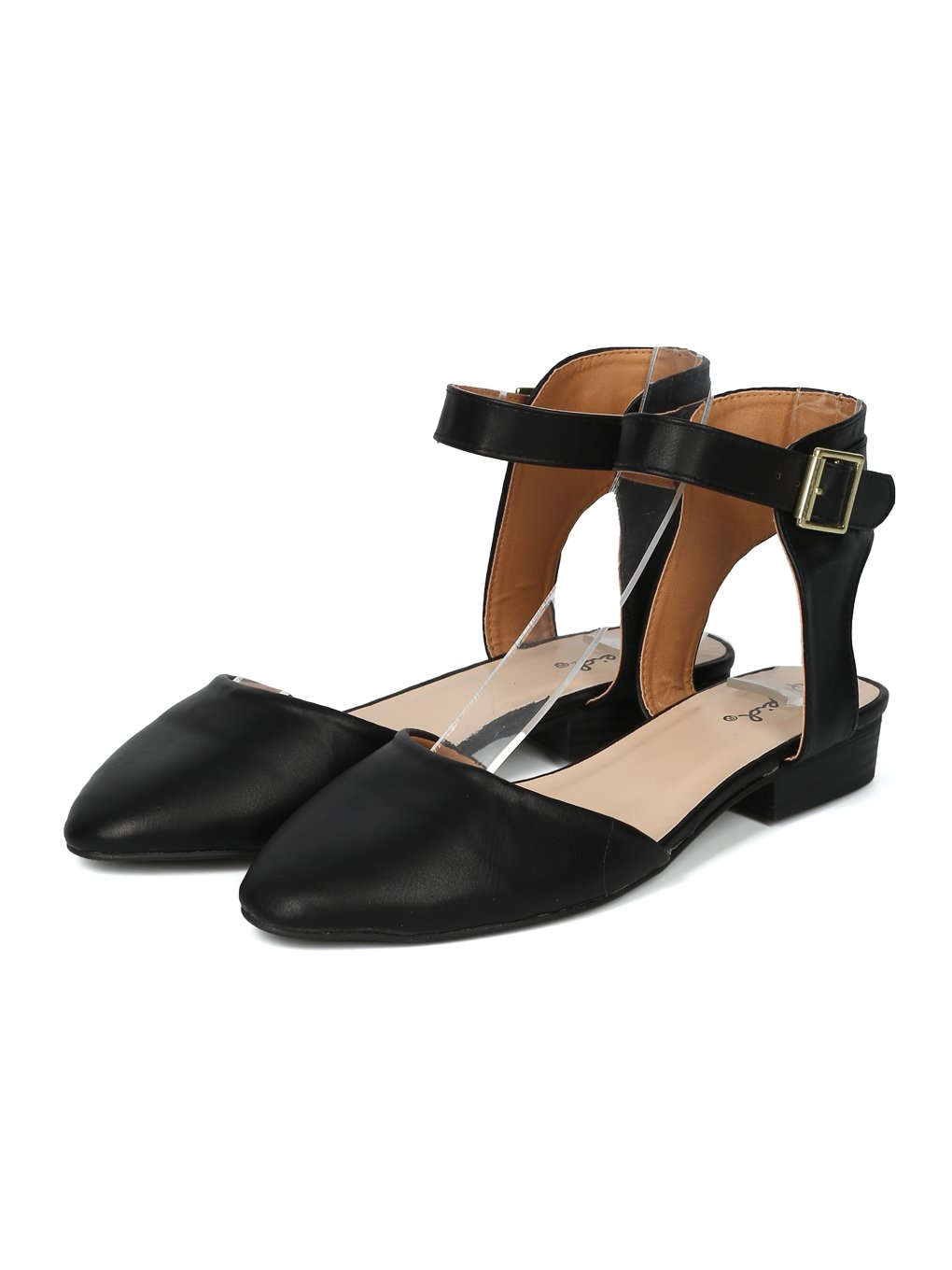 Women Pointy Toe D'Orsay Ankle Strap Flat - IA01 by Qupid Collection B07FCWD17B 8 B(M) US|Black Leatherette