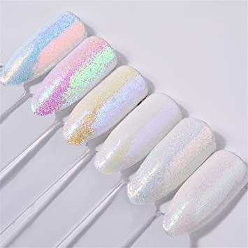 6 Boxes 1g Trend Iridescent Nail Powder Glitter Mermaid Effect Nails ...