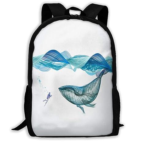 Cool-custom Backpack Girls Boys Underwater Whale Illustration Zipper School  Bookbag Daypack Travel Rucksack Gym 06b55fdaf8
