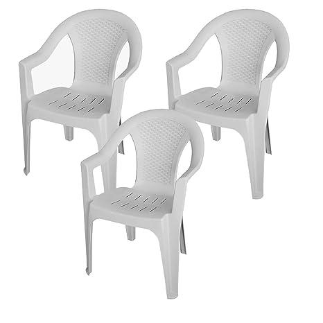 3 pieza silla apilable Efecto de ratán silla de jardín PLÁSTICO para ...