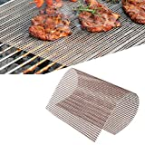 FF Era BBQ Copper Grill Mesh Mat-Set of 5 Non-Stick Heavy Duty 13x15.75 Inch BBQ Grill Mesh Mat-Easy to Clean PTFE Coated Fiberglass Silicone Free FDA Approved-Suitable for Grills and Ovens (Brown)