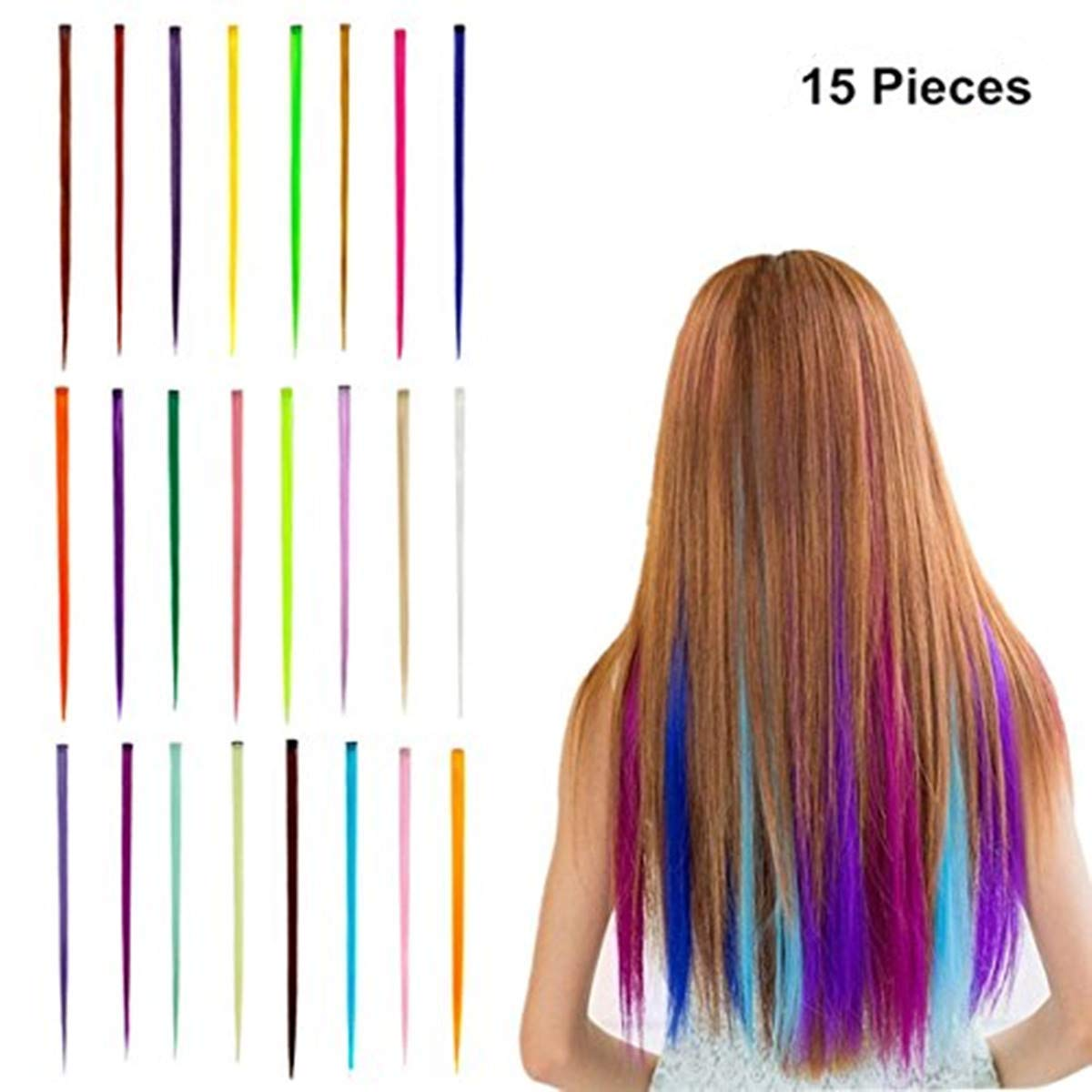Hair Extensions 55cm (21) Multi-Colors Highlight Hair Extensions Fashion Hairpieces (10 pieces) ShareCool