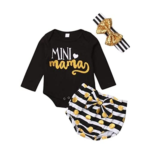 f3f695549bad Amazon.com  Cute Newborn Infant Baby Girls Outfit Clothes Long Sleeve  Cotton Print Tops Romper Jumpsuit Pants Autumn Set  Clothing