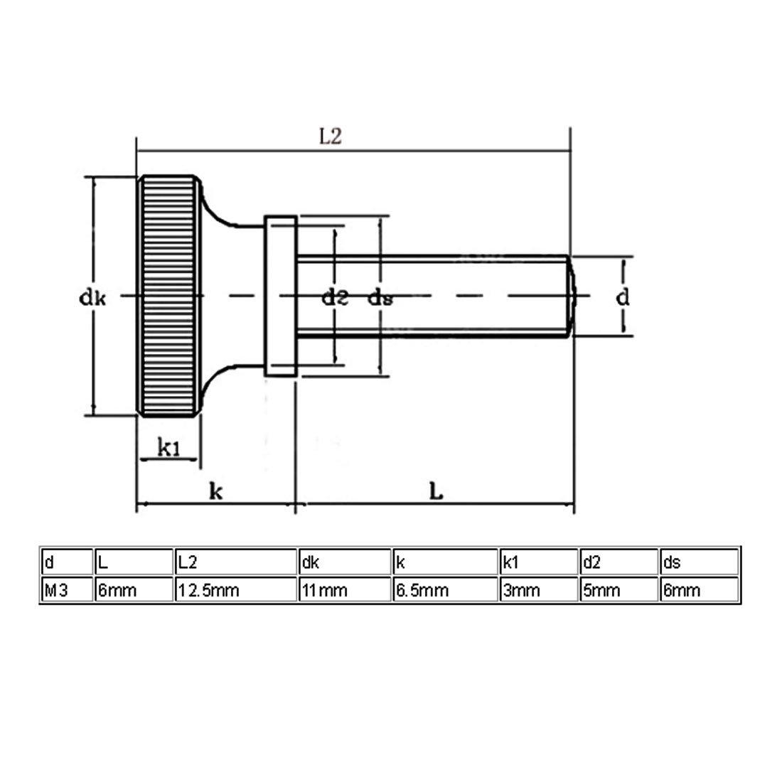 -5mm OD L sourcing map Inserciones de hilo Knurl 100 Pcs M3x5mm con rosca de knurl