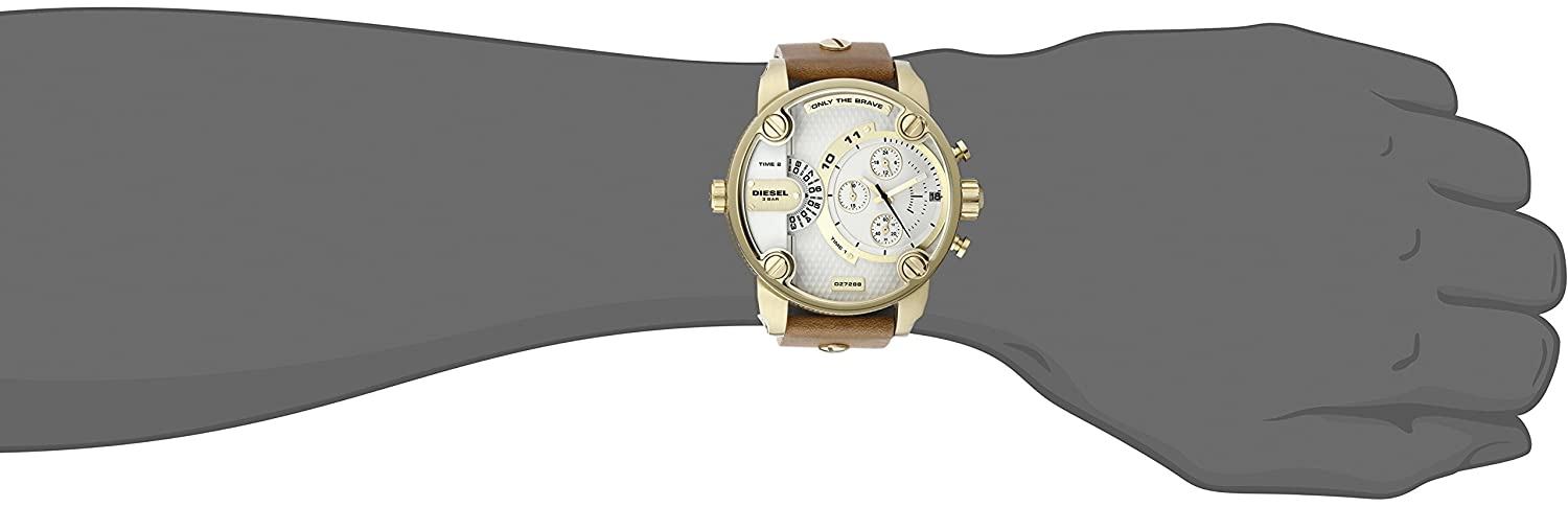 Amazon.com: Diesel Little Daddy Chronograph Dual Time Brown Leather Gold Case Mens Watch DZ7288: Diesel: Watches