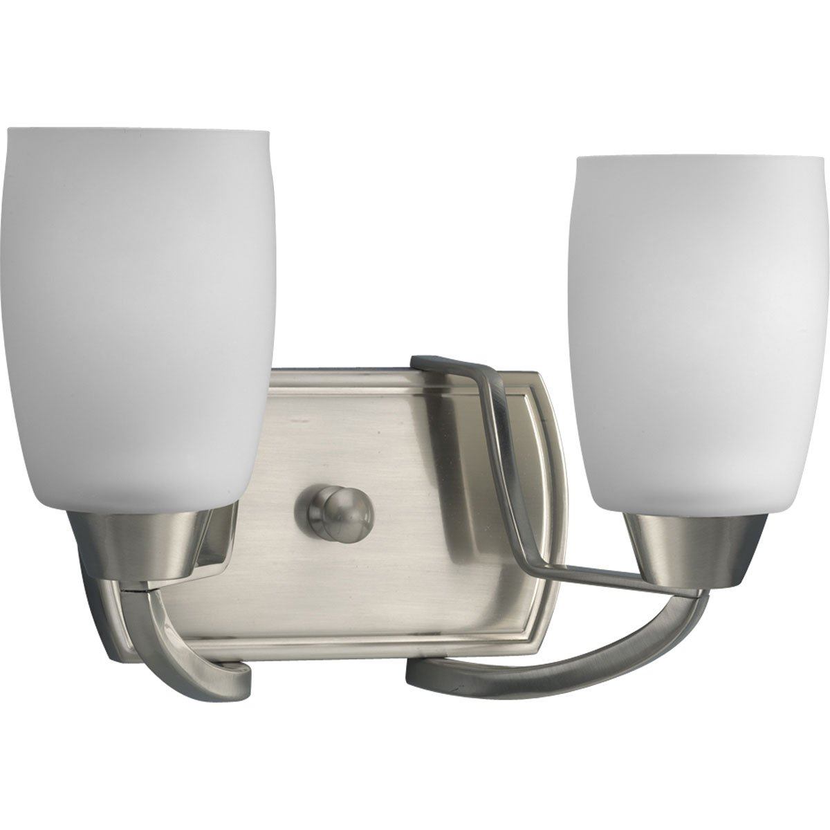 Progress Lighting P2795-09 2-Light Bath Bracket with White Opal Glass, Brushed Nickel