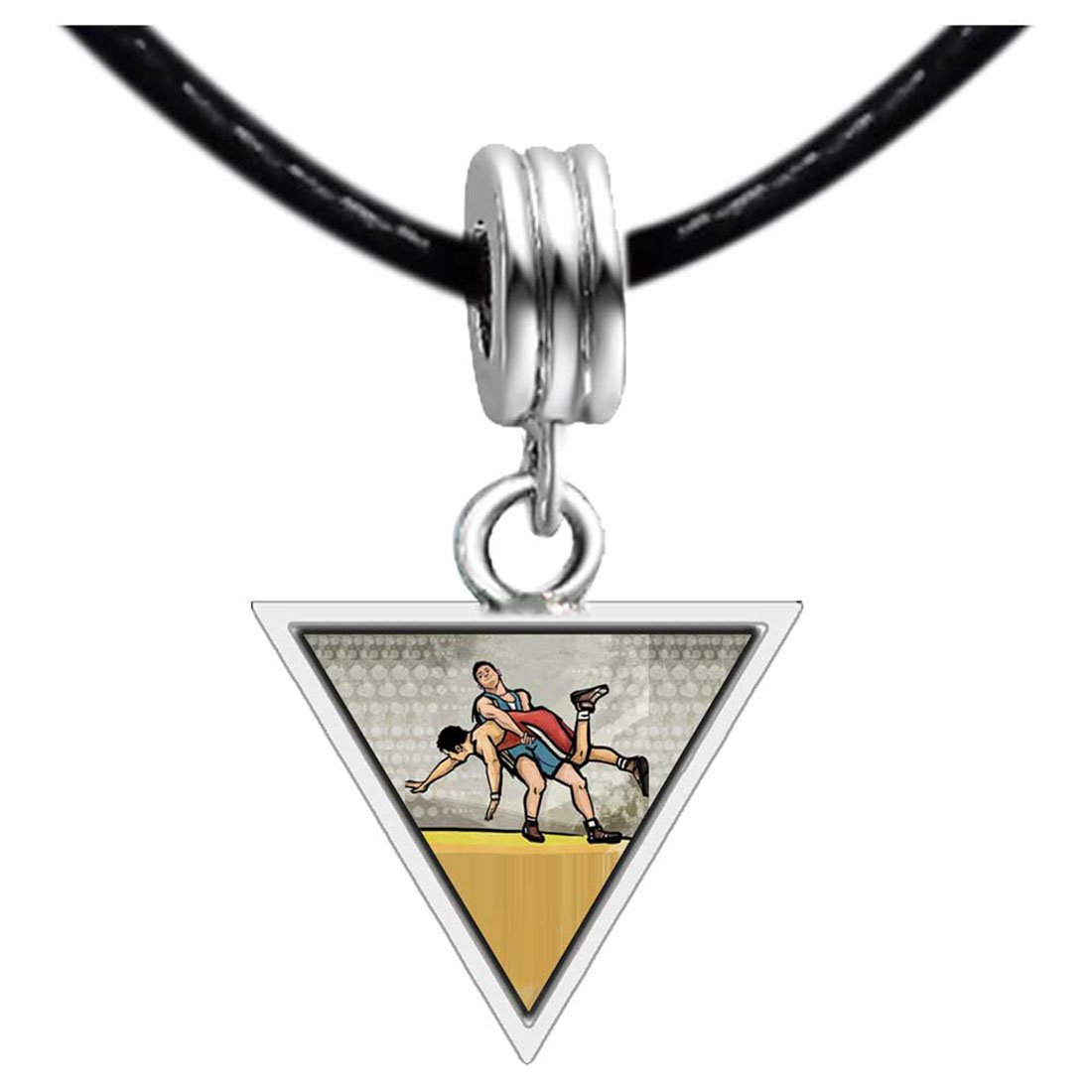GiftJewelryShop Silver Plated Olympics Wrestling Photo Triangle European Bead Bracelets
