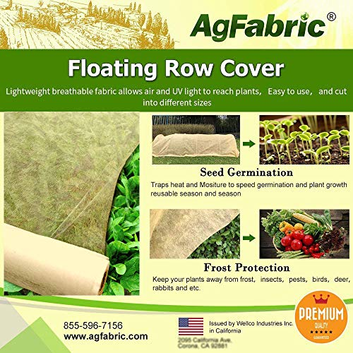 Agfabric Winter Plant Cover Fabric Lightweight Protective Row Covers for Season Extension & Harsh Weather Resistance, 0.55oz Fabric of 7x15ft