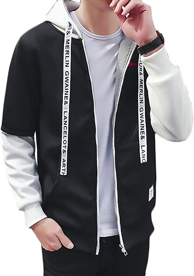 shinianlaile Men Simple Thicken Warm Hoodies Zipper Coat Hoodie Sweatshirt Coat