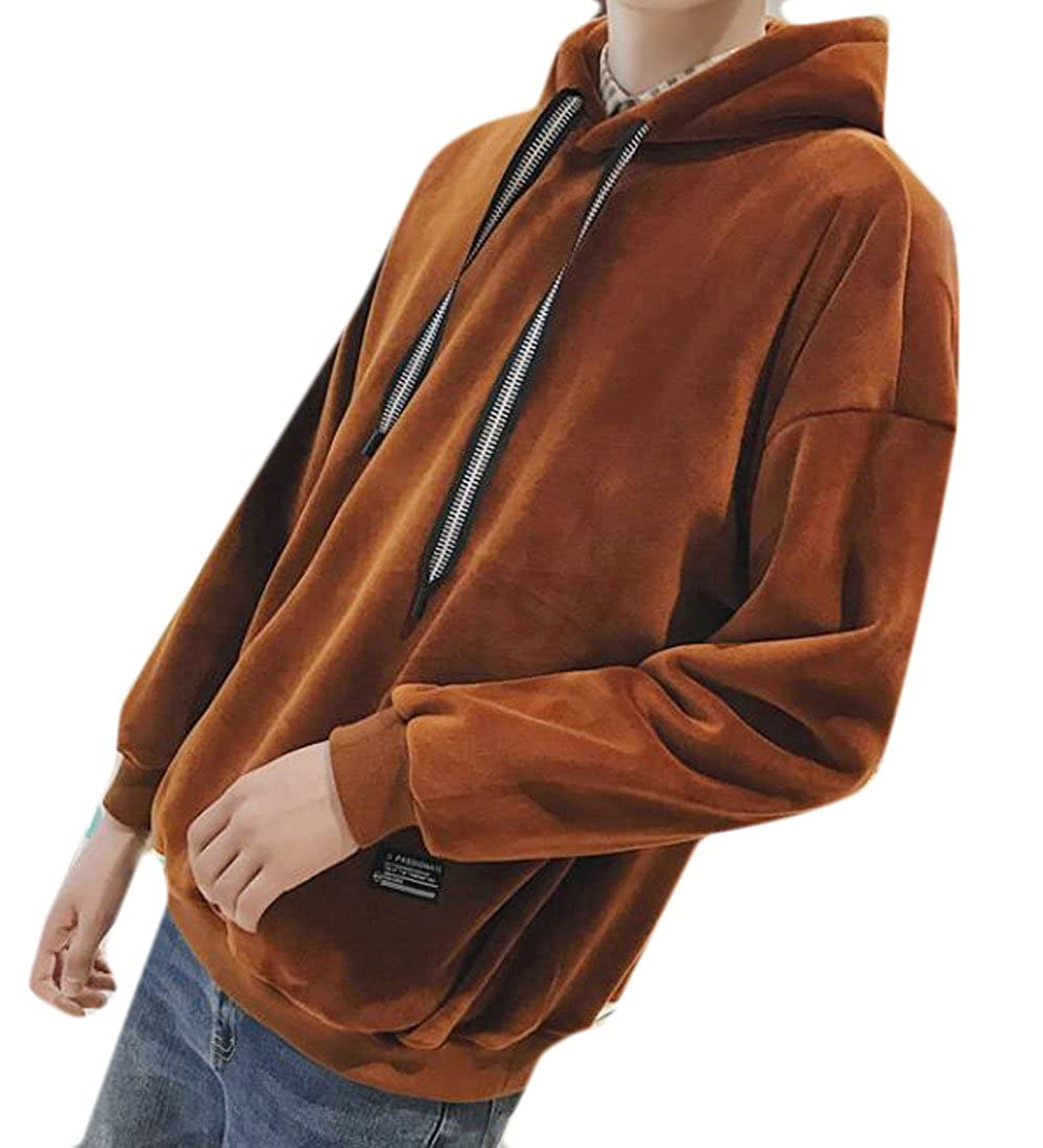 ONTBYB Mens Long Sleeve Velvet Hooded Drawstring Thicken Sweatshirt