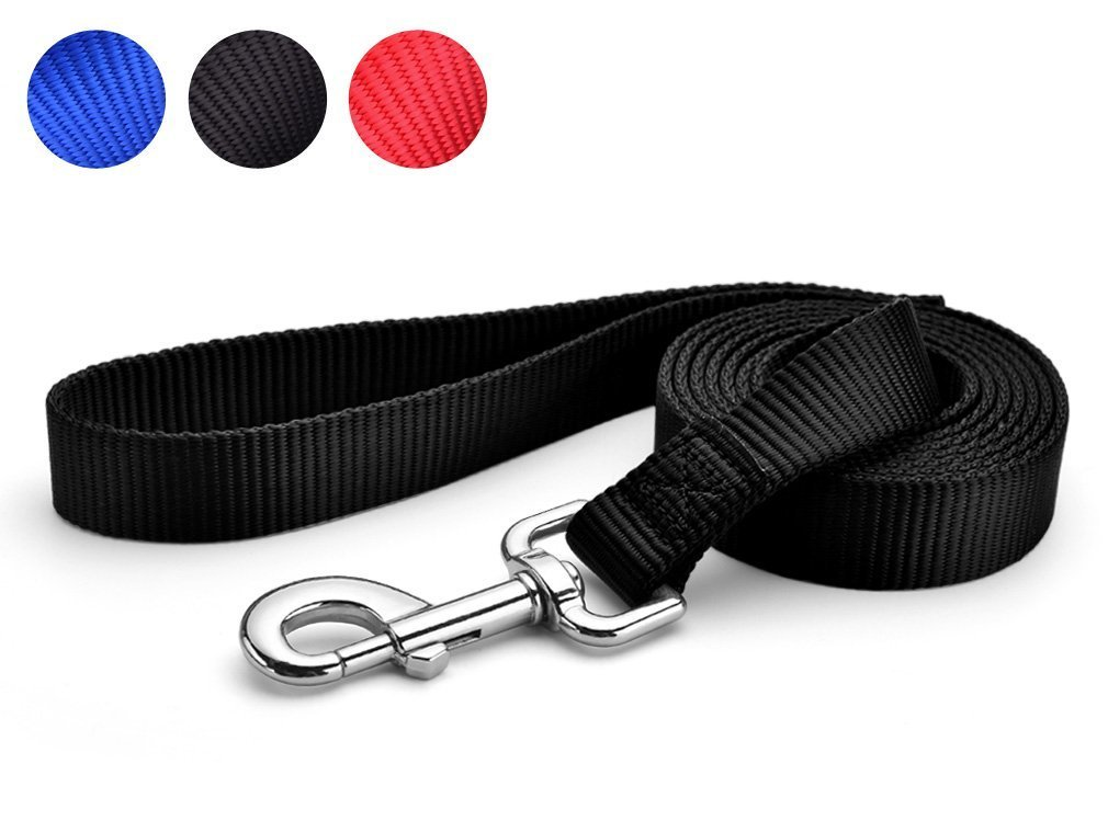 LeRich 15FT/20FT/30FT/50FT Long 3 Color Nylon Pet Dog Cat Puppy Tracking Training Obedience Lead Leash (30 Foot, Black)