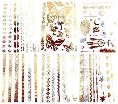 6 sheets mandala Egyptian feather metallic gold flash tattoo bulk temporary tattoos