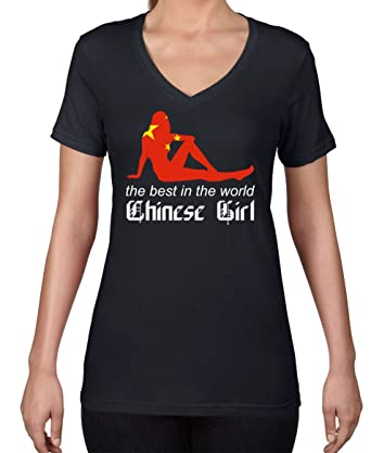 AW Fashions The Best in The World - Chinese Girl Womens V-Neck Shirt (