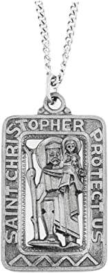 925 Real Sterling Silver Small Square Saint Christopher Pendant Necklace