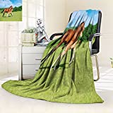 AmaPark Unique Custom Blanket Horsesinmeadow,Silky Soft,Anti-Static,2 Ply Thick,Hypoallergenic Printed Fleece Blanket.(W72 x L90)