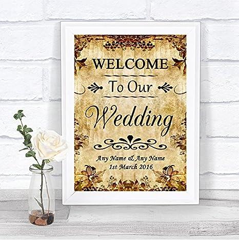 Amazon.com: Otoño Vintage Bienvenido a nuestra boda signo de ...