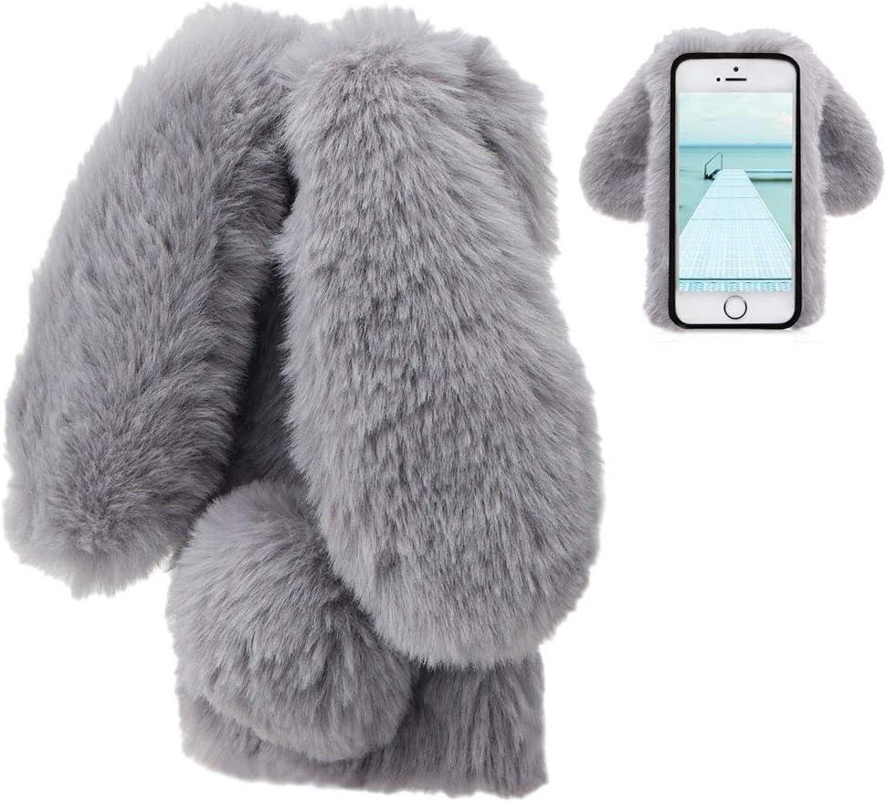 LCHDA Rabbit Funda para iPhone 6 Plus,Conejo Piel Conejito Oído Caso para Muchachas Linda Invierno Cálido Suave Peludo Bola Mullida Piel Pelo Felpa Protectora TPU Funda para iPhone 6S Plus-Gris