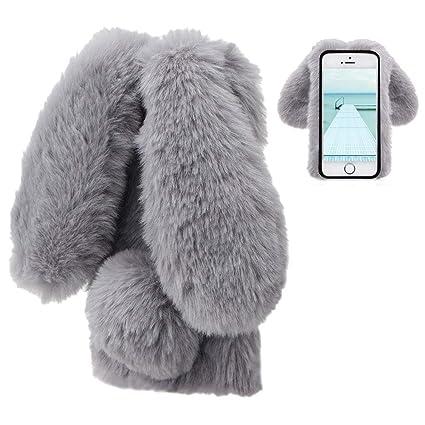 new style fe2b6 4b0aa LCHDA iPhone 6 Rabbit Case,Apple iPhone 6S Rabbit Fur Case Bunny Ear Phone  Case for Girls Fuzzy Cute Warm Winter Soft Furry Fluffy Ball Fur Hair Plush  ...