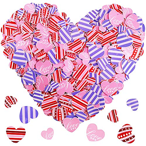 600 Pcs 3 Sizes 4 Styles Assorted Heart Stickers Self Adhesive Foam Hearts Valentine Heart Shaped Decals for Valentine