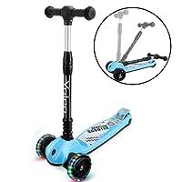 Yoleo Kinderroller Dreiradscooter mit LED große Räder 2 Hinterräder-Design