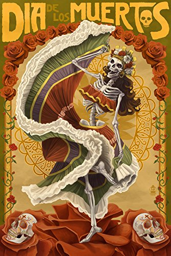 Skeleton Dancing - Day of the Dead (24x36 Giclee Gallery Print, Wall Decor Travel Poster)