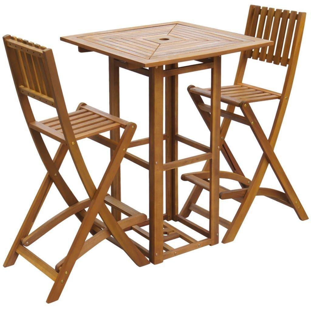 Amazon com 3 pieces outdoor patio bar acacia wood 1 table and 2 chairs set patio garden furniture garden outdoor