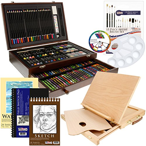 US Art Supply 163 Piece-Premium Mega Wood Box Art, Painting & Drawing Set that contains all the additional supplies you need to get started and the Bonus Wooden Drawing Easel ()