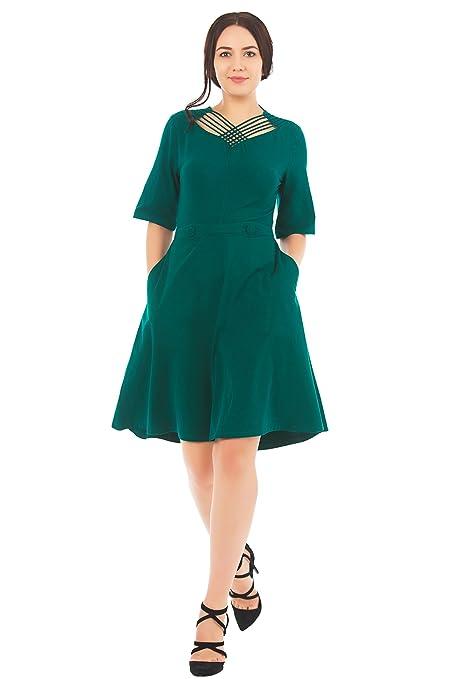 1930s Style Fashion Dresses eShakti Womens Lattice work neck cotton knit dress $54.95 AT vintagedancer.com