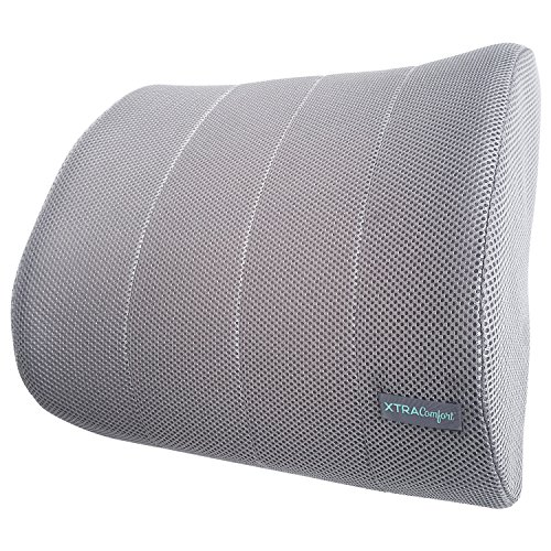 Xtra-Comfort Lumbar Support - For Office Chairs and Cars - Lower Back Seat Pillow - Therapeutic Backrest Cushion, Plus Strap - Computer Back Rest Pad with Mesh Ergonomic Roll