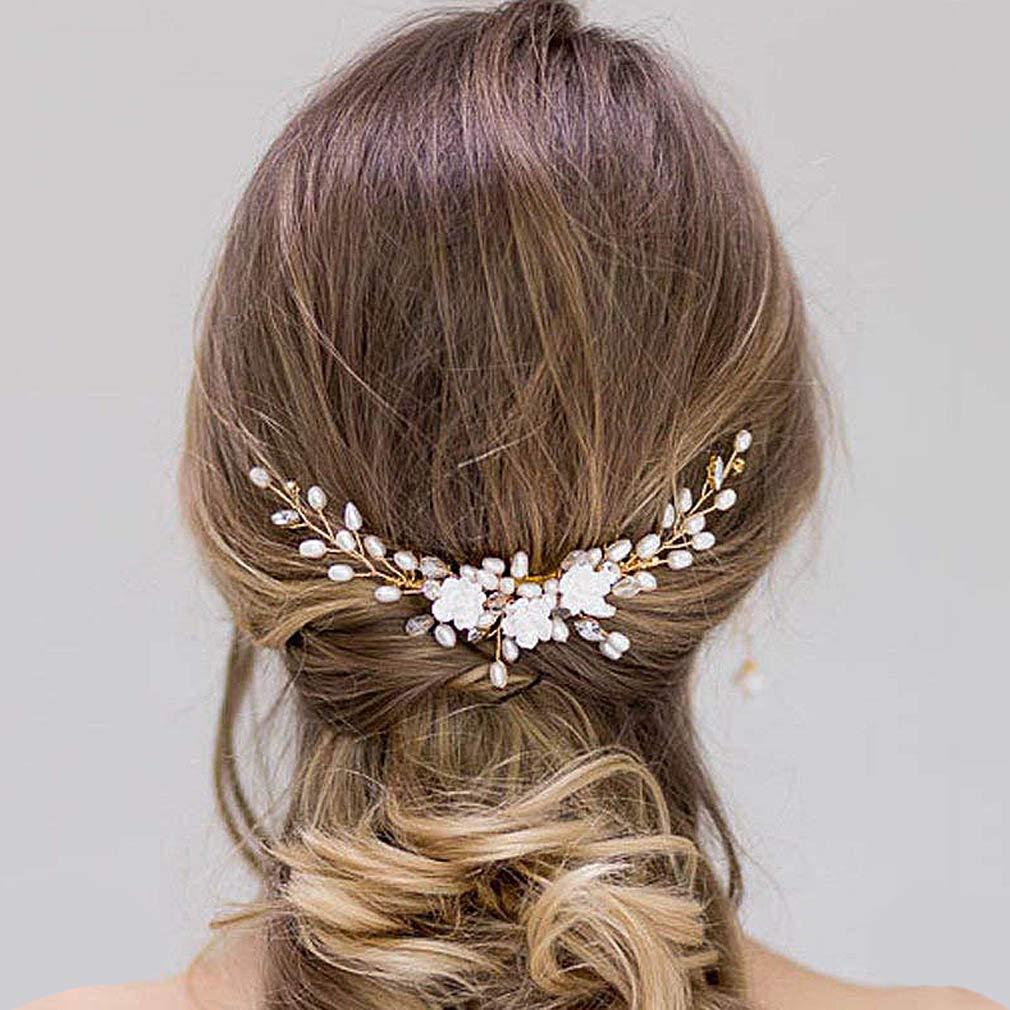 Amazon Com Yean Flowers Bride Wedding Hair Comb Rhinestones Decoration Bridal Hair Pins Accessories For Women Silver Beauty