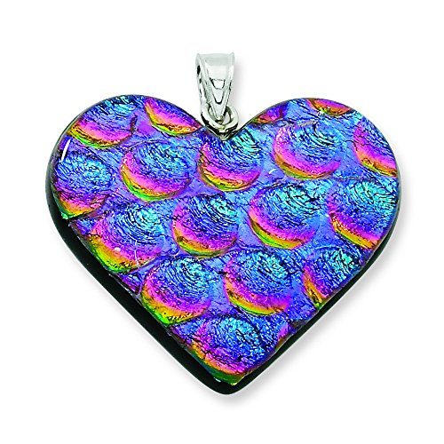 Sterling Silver Blue & Pink Dichroic Glass Heart Pendant (Pendant Dichroic)