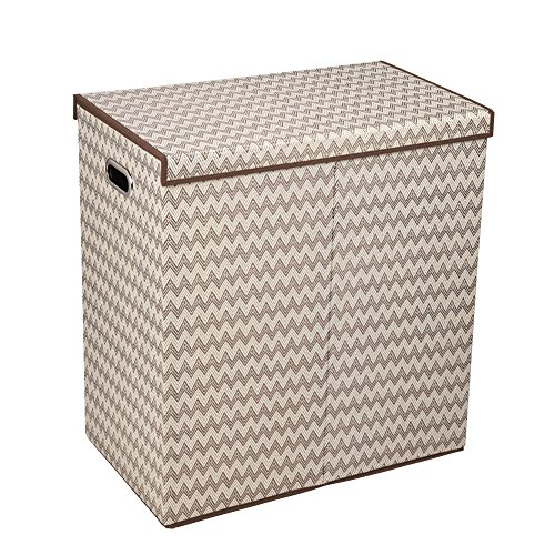 Cake Hamper - Household Essentials 5626-1 Double Hamper Laundry Sorter with Magnetic Lid Closure | Chevron