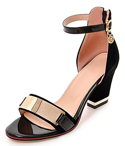 90cd9dfdd31b IDIFU Women s Dressy Mid Block Heels Back Zip Up Sandals Shoes with Ankle  Strap (Black