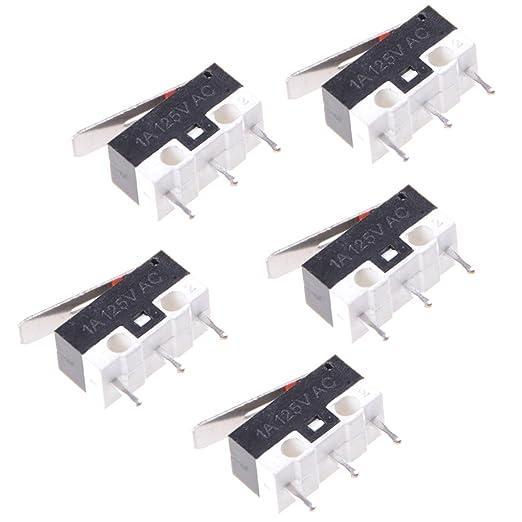 ukcoco 5/unidades Micro finecorsa Interruptor Momentaneo impermeable pulsador 3/pines palanca Bisagra Micro interruptor