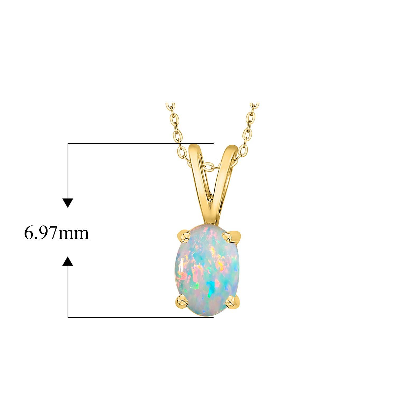 Gold or Sterling Silver 3//8 CTTW Oval Opal Pendant Necklace