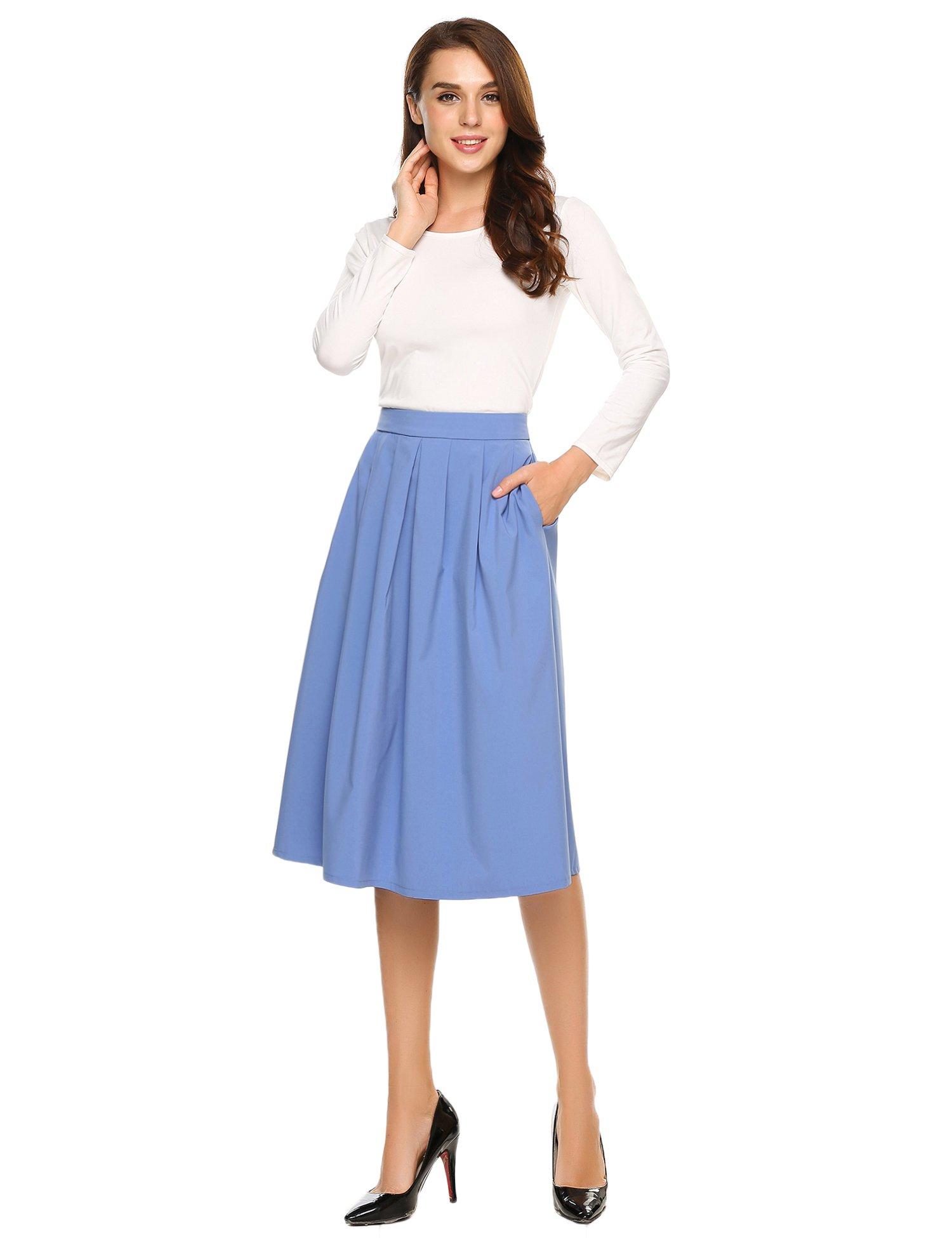 Elegant Schoolgirls Print Flared Skater Midi Long Skirt Blue X-Large