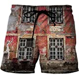 Men's Swim Trunks,UrbanWorkout Gym Running Tight Lifting ShortsMedieval European Structure Nordic Old City