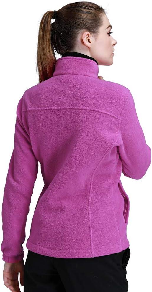 CAMEL Damen Fleecejacke mit Durchgehendem Rei/ßverschluss Warm Stehkragen Fleece Jacket Outdoor Microfleece Polar Sweatjacke Antistatic Electricity Jacket for Hiking and Leisure